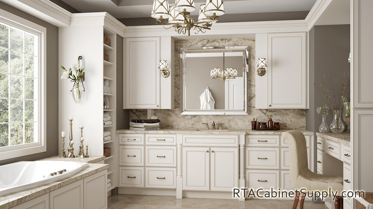 Antique White Pre Assembled Kitchen Cabinets